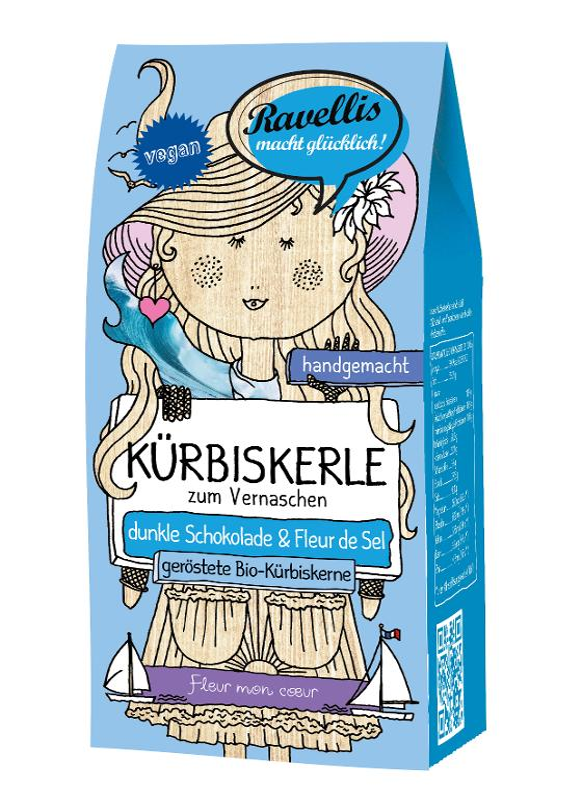 Kürbiskerle Fleur mon coeur - dunkle Schokolade & Fleur de Sel von Ravellis