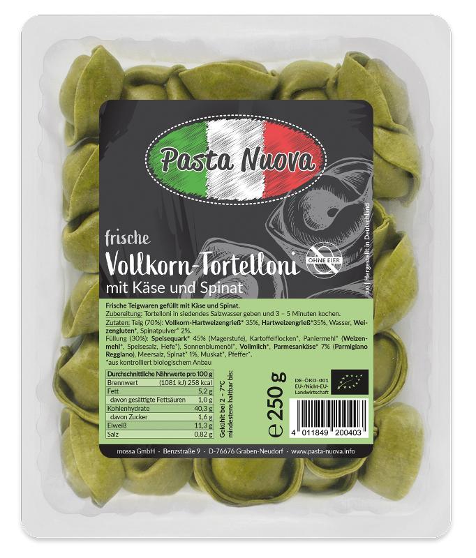 Vollkorn-Tortelloni mit Käse/Spinat Füllung, 250g