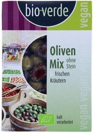 grüne und schwarze Oliven  ohne Stein mariniert mit frischen Kräutern