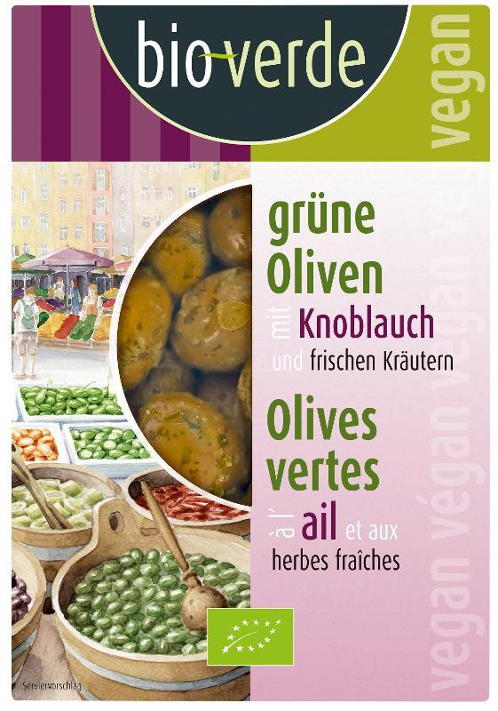 Grüne Oliven m. Knoblauch